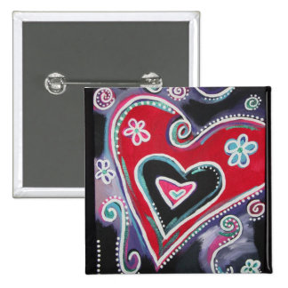 Funky Heart 15 Cm Square Badge