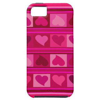 Funky Hearts and Squares | fuschia raspberry pink iPhone 5 Covers