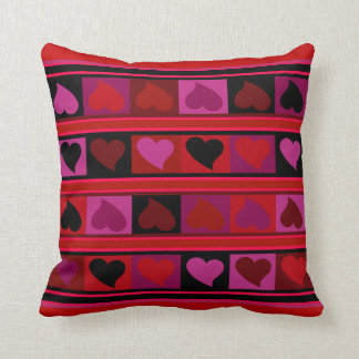 Funky Hearts and Squares | red orchid burgundy Throw Cushion