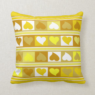 Funky Hearts and Squares | yellow tan white Cushion