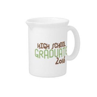 Funky High School Graduate 2016 (Green) Beverage Pitchers