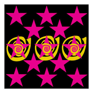 Funky Hot Pink and Black Stars Swirls Pattern Poster
