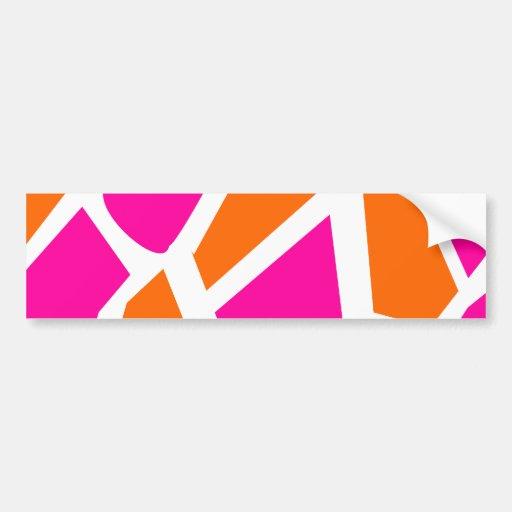 Funky Hot Pink Orange Giraffe Print Girly Pattern Bumper Stickers