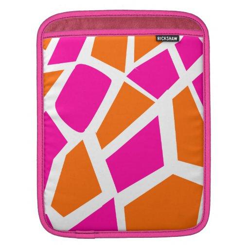Funky Hot Pink Orange Giraffe Print Girly Pattern Sleeves For iPads