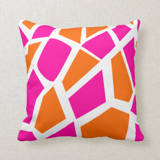 Funky Hot Pink Orange Giraffe Print Girly Pattern Throw Pillow