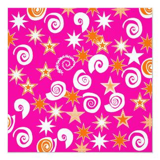 Funky Hot Pink Orange Stars Swirls Fun Pattern 13 Cm X 13 Cm Square Invitation Card
