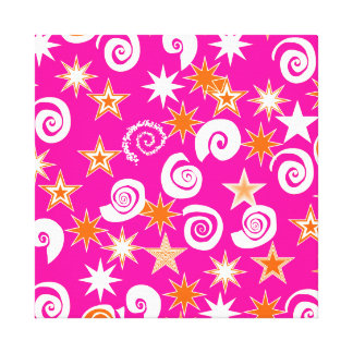 Funky Hot Pink Orange Stars Swirls Fun Pattern Canvas Print