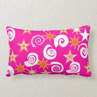 Funky Hot Pink Orange Stars Swirls Fun Pattern Lumbar Pillow