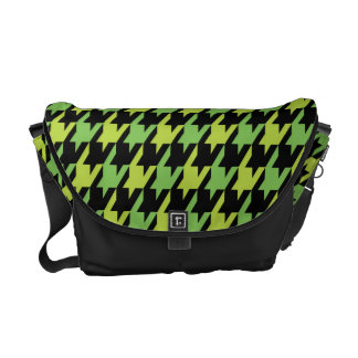 Funky Houndstooth Pattern in Tangy Lime Commuter Bags