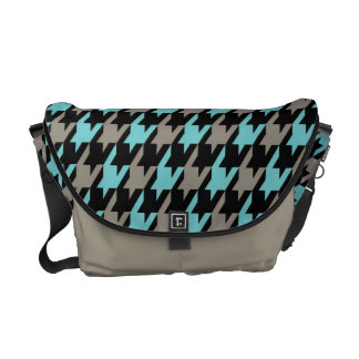 Funky Houndstooth Pattern in Teal and Gray Messenger Bag