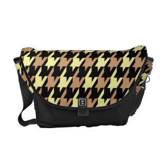 Funky Houndstooth Pattern in Yellow and Tan Courier Bags