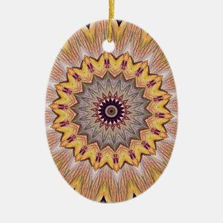 Funky Kaleidoscope Sunflower Mandala Ceramic Oval Decoration