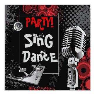 Funky Karaoke Music Sing Dance Birthday Party Card