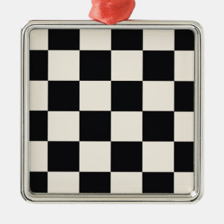 Funky Khaki Black Blocks Metal Ornament