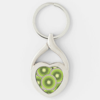 Funky kiwi fruit Silver-Colored twisted heart key ring