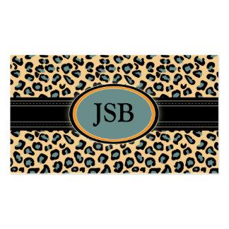 Funky Leopard Print Business Card :: blue/orange