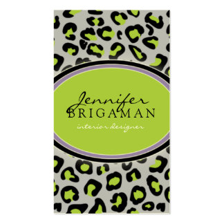 Funky Leopard Print Business Card :: green/lilac