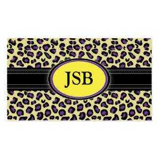 Funky Leopard Print Business Card :: yellow/purple