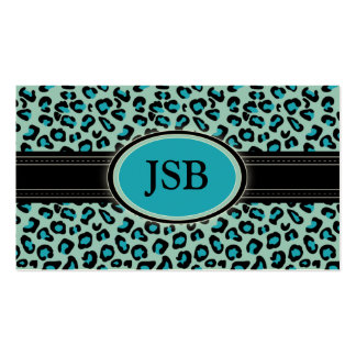 Funky Leopard Print Custom Business Card Aqua