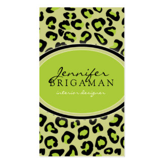 Funky Leopard Print Custom Business Card :: Lime