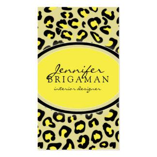 Funky Leopard Print Custom Business Card :: Yellow