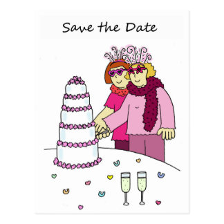 Funky lesbian Save the Date wedding/civil union. Postcard