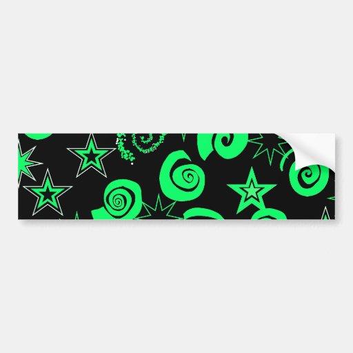 Funky Lime Green Black Stars Swirls Fun Pattern Bumper Stickers