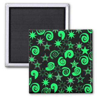 Funky Lime Green Black Stars Swirls Fun Pattern Magnet