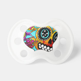 Funky Little Sugar Skulls by OneCuriousHuman Baby Pacifier