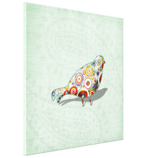 Funky Little Whimsical Doodle Bird Paisley Green Canvas Print