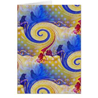 Funky Lollipop Swirl Pattern Roses Birds Card