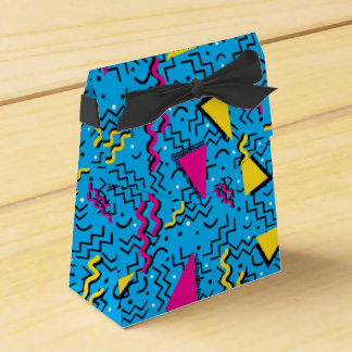 Funky Loud Cyan Memphis Design Favour Box