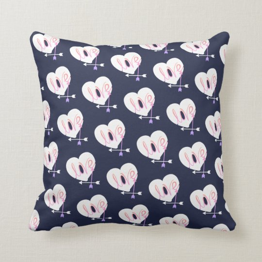 Funky Love Heart Arrows Throw Pillow Cushion