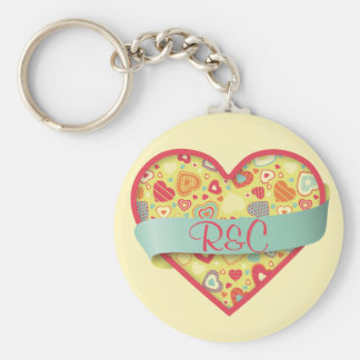 Funky Love heart with banner, customizable Basic Round Button Key Ring
