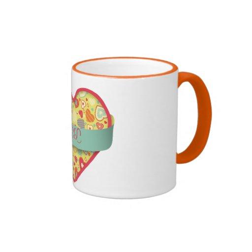 Funky Love-heart with banner, customizable Coffee Mug