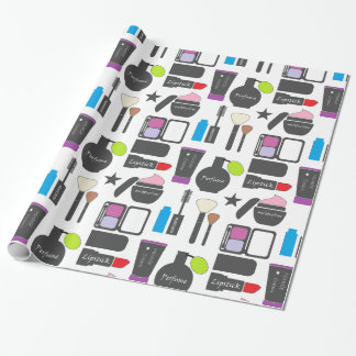 Funky Makeup Collage Wrapping Paper