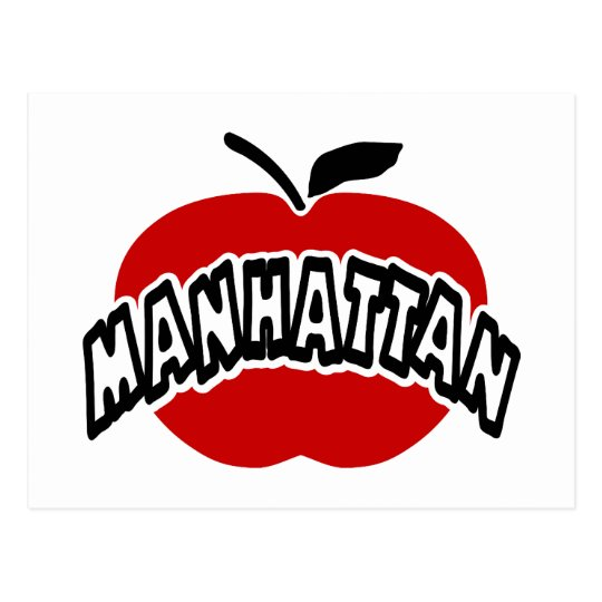 Funky Manhattan Outline Cut Out Of Big Red Apple Postcard