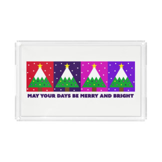 Funky Merry and Bright Christmas Tree Acrylic Tray