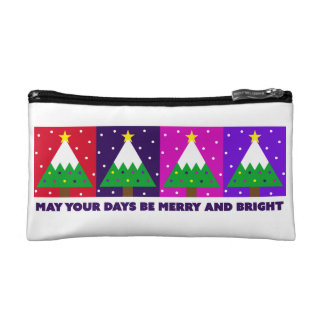 Funky Merry and Bright Christmas Tree Makeup Bag