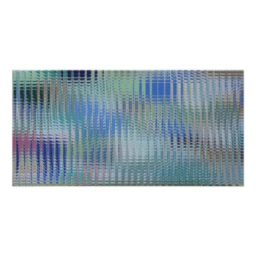 Funky Metallic Glass Abstract Custom Photo Card