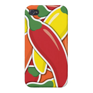 Funky mixed chilli peppers cases for iPhone 4