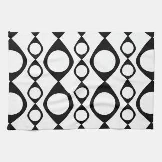 Funky MOD Retro Black & White Pattern Tea Towel