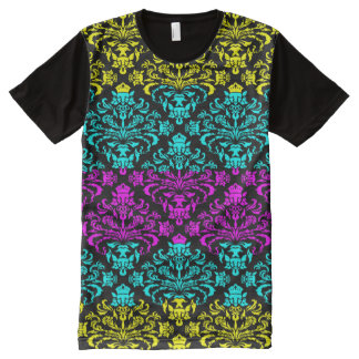 Funky Modern CMYK Diamond Damask Pattern All-Over Print T-Shirt