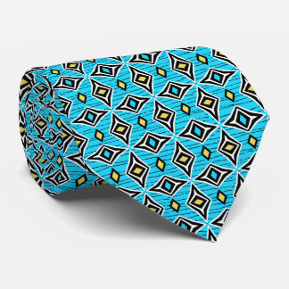 Funky modern contemporary geometric blue yellow tie