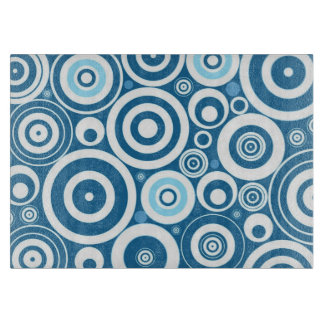 Funky Modern Retro Blue White Circles Pattern Cutting Boards