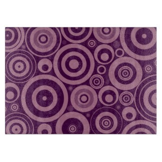 Funky Modern Retro Purple Circles Pattern Cutting Boards