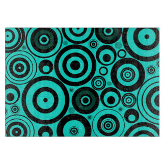 Funky Modern Retro Teal Black Circles Pattern Cutting Boards