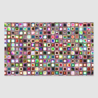 Funky Mosaic Tiles Pattern With Jewel Tones Rectangular Sticker