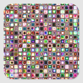 Funky Mosaic Tiles Pattern With Jewel Tones Square Sticker