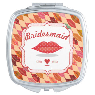 Funky Mrs. Lips Bridesmaid Mirrored Compact Makeup Mirror